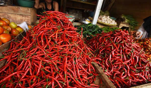 Pedagang sayur melayani pembeli di Pasar Induk Rau, Serang, Banten, Senin (20/4/2020). Harga cabai merah turun dari Rp25 ribu menjadi Rp20 ribu perkilogram akibat pasokan bertambah sedang pembeli berkurang karena terdampak pandemi COVID-19. ANTARA FOTO/Asep Fathulrahman/hp.